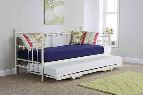 FTA Furnishing - Chambery metal day bed or daybed and trundle or daybed and mattress or daybed with trundle and two mattresses - Save 54%