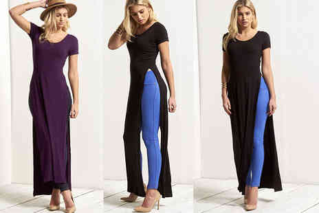 Be Jealous - High split t shirt maxi dress in 12 colours - Save 80%