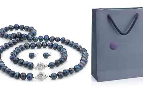 Groupon Goods Global GmbH - Black Semi Baroque Pearl Set with Gift Bag - Save 88%