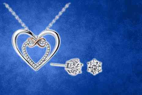 Your Ideal Gift - Infinity love necklace made with crystals from Swarovski or include the matching earrings - Save 87%