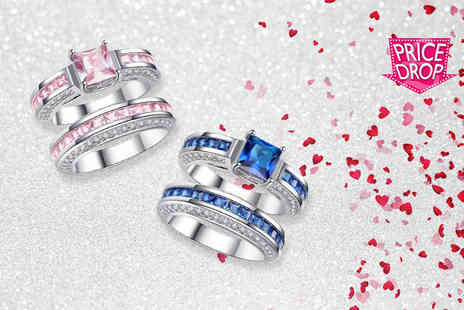 Your Ideal Gift - Princess double cluster crystal ring set - Save 77%