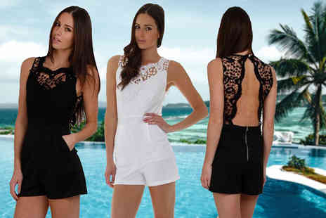 Bluebell Retail - Crochet playsuit get yours in black or white - Save 74%