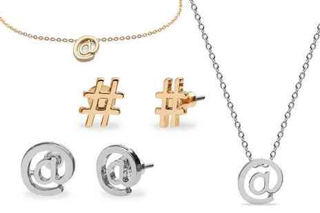 Groupon Goods Global GmbH - Social Media Themed Bracelet, Stud Earrings, Necklace or Jewellery Set - Save 79%