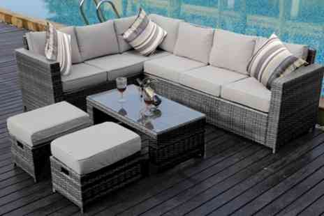 Groupon Goods Global GmbH - Eight Seater PE Rattan Corner Sofa Set with Optional Rain Cover and Scatter Cushions With Free Delivery - Save 0%