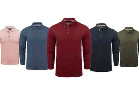 Groupon Goods Global GmbH - Mens Brave Soul Long Sleeve Polo Shirt in Choice of Size and Colour - Save 0%