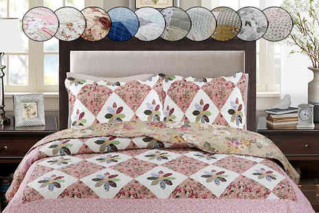 Rynz Collection - Cotton Touch Patchwork Bedspread Set in 11 Designs - Save 50%