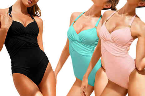Bazaar me - Halter Neck Ruched Swimsuit in 3 Sizes - Save 85%