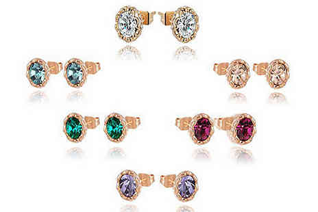 Jewleo - Rose Gold Tone Coloured Stud Earrings Choose from 6 Colours - Save 75%