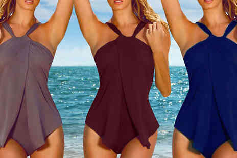 Bazaar me - Halterneck Draped Swimsuit Choose from 3 Colours - Save 84%