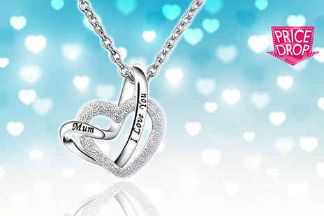 Your Ideal Gift - I Love You Mum heart pendant necklace - Save 84%