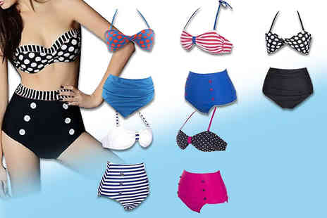 Toy Meets World - Retro high waisted bikini choose from six designs and three sizes - Save 73%