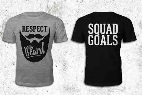 The Hut Group - Squad Goals or Respect the Beard t shirt - Save 33%