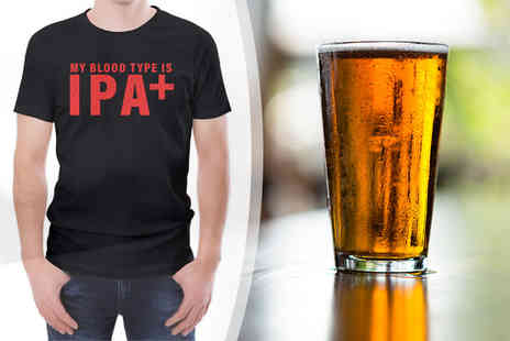 The Hut Group - My Blood Type Is IPA t shirt - Save 33%