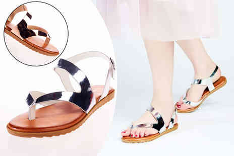 Forever Love Me - Pair of womens metallic strap sandals in rose gold or silver - Save 40%