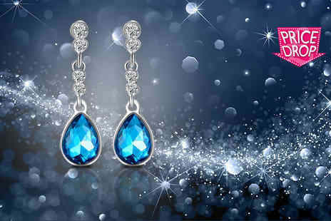 Your Ideal Gift - Pair of blue crystal drop earrings - Save 85%