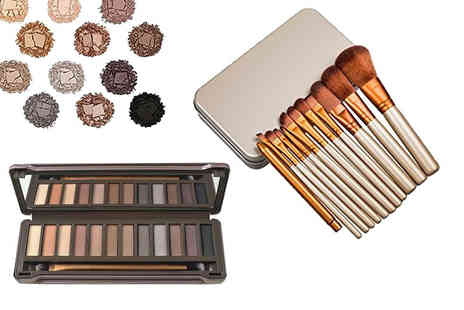 Forever Cosmetics - A 12 shade eye shadow palette and 12 piece makeup brush set - Save 90%
