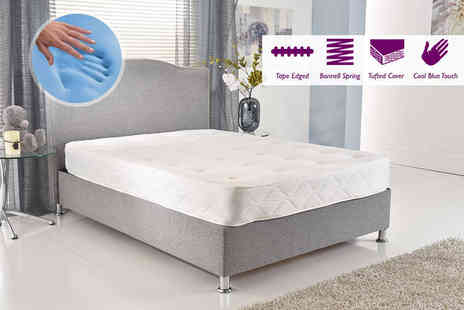 My Mattress Online - A small single luxury cool blue tufted Bonnell spring mattress - Save 82%