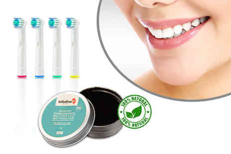Forever Cosmetics - Four Oral B compatible toothbrush heads and activated charcoal whitening powder - Save 88%