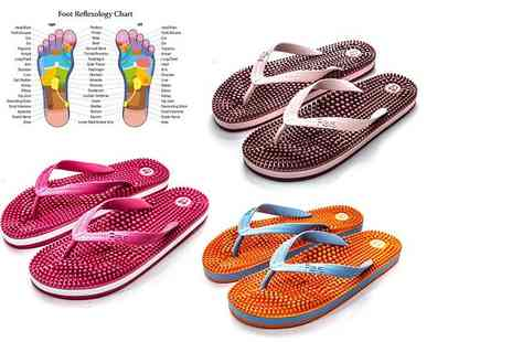 Kenkoh Europe - A pair of womens massaging reflexology flip flops choose from three vibrant colours - Save 19%