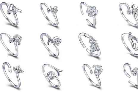 Groupon Goods Global GmbH - Zodiac Sign Adjustable Ring with Crystals from Swarovski - Save 77%