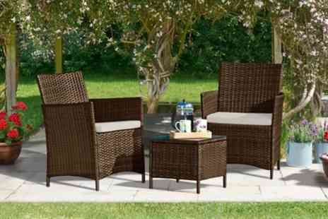 Groupon Goods Global GmbH - Three Piece Rattan Effect Furniture Set With Option to Include Covers With Free Delivery - Save 71%