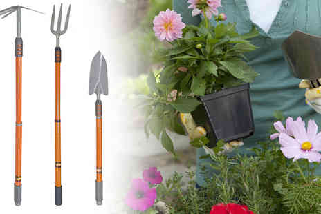 Tooltime - Three Piece Telescopic Handle Garden Tool Set - Save 59%