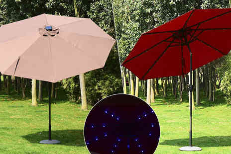 MHSTAR - 24 LED Solar Parasol Two Colours - Save 0%