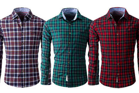 Bazaar me - Mens Long Sleeve Checked Shirt Four Sizes - Save 84%