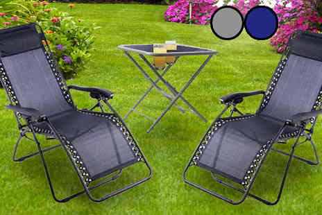 Direct 2 public - 2 x Zero Gravity Chairs and Table Colours - Save 69%