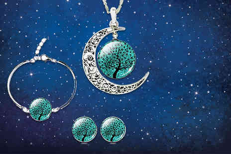 Girly Glitz - Three piece tree of life jewellery set including necklace, bracelet and earrings - Save 85%