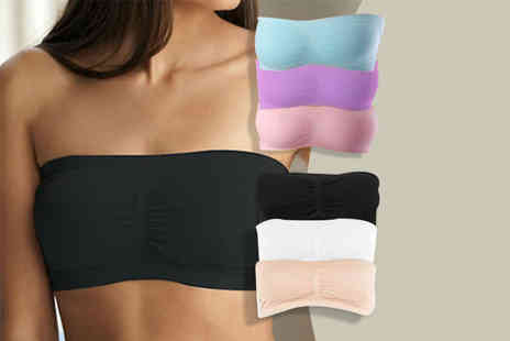 Bluebell Retail - Pack of three seamless bandeau bras choose a black, white and beige pack or blue, pink and purple pack - Save 80%