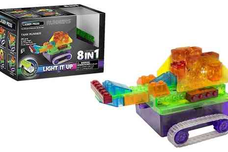 Groupon Goods Global GmbH - Laser Pegs Eight in One Tank Runner Light Up Construction Kit - Save 40%