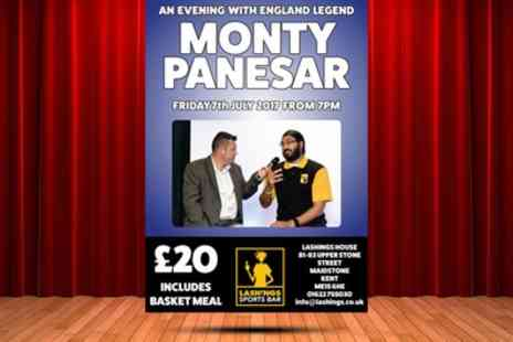 Lashings - An Evening with Englands Cricket Legend Monty Panesar on 7 July - Save 30%