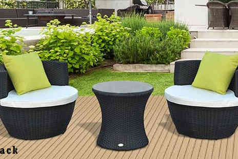 MHStar Uk - Outsunny 3Pc Garden Rattan Vase Chair Brown - Save 52%