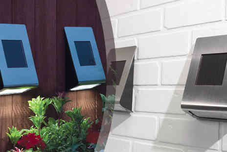 Gablemere - Pack of Two Stainless Steel Solar Wall Lights - Save 48%