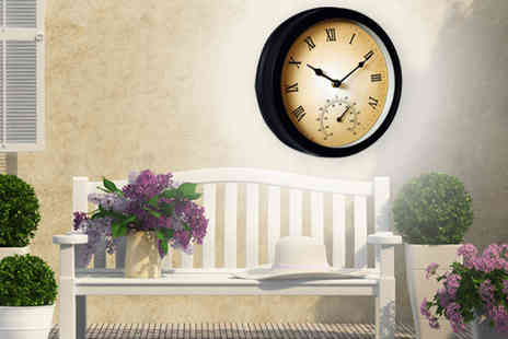 Shamz Distributors - Garden Clock with Thermometer - Save 80%