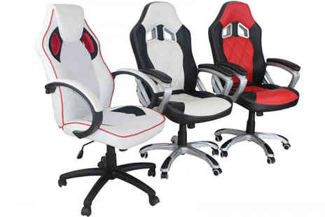 Dream Warehouse - Jenson Racing Office Swivel Chair Available in White, Red and Black - Save 28%