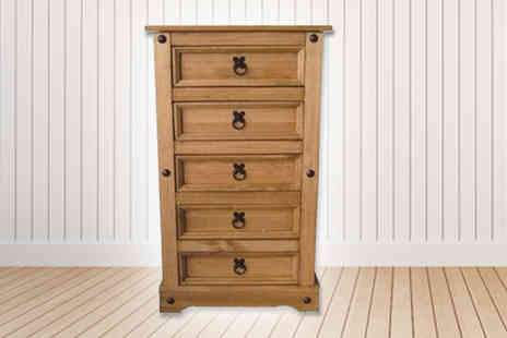 Sen Furniture - Waxed Mexican Pine Slim Five Drawer Chest - Save 65%