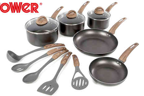 Giddy Aunt - Tower 5pce Non Stick Pan Set with Five Piece Utensil Set Black - Save 43%