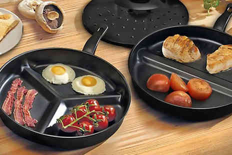 Zenith Wholesale - Set of 2 Non Stick Divider Frying Pans - Save 78%