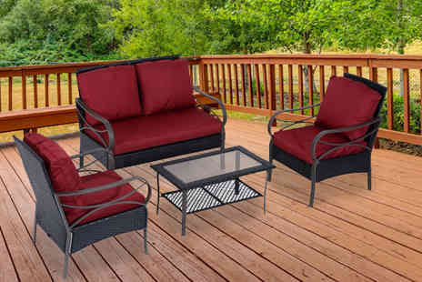 MHStar - Outsunny Four Pcs Rattan Wicker Set Black Plus Red - Save 14%