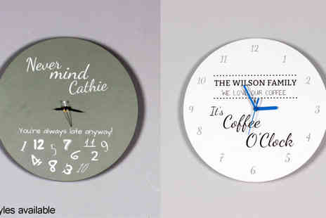 Yourperfectcanvas - Choice of Personalized Typography Clock - Save 78%