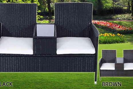 MHStar - Black Two Person Rattan Love Seat - Save 60%