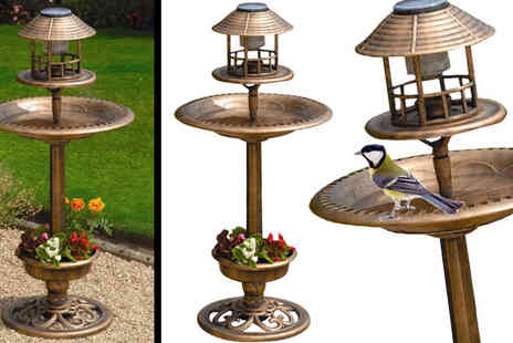 Gablemere - Antique Bronze Solar Bird Bath or Feeder with Solar Light and Planter - Save 32%