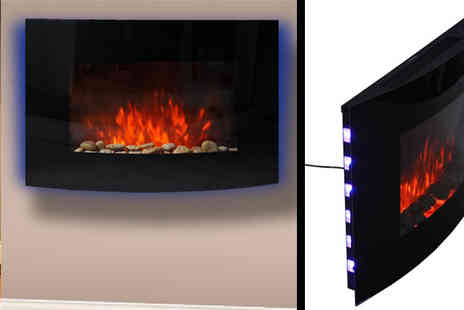 Mhstar - Led Curved Glass Electric Fire Place - Save 59%