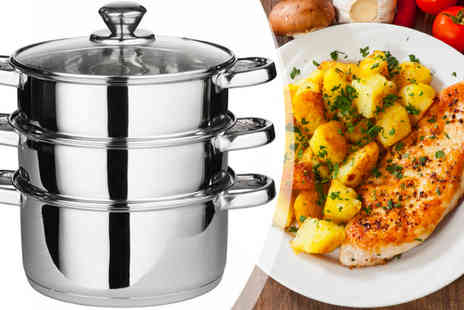 ToolCollection - Three piece Stainless Steel Pot Set - Save 75%