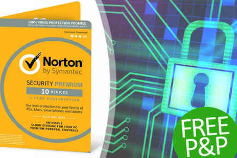 Software Link - Norton Security 3.0 Premium 10 Devices One Year 2017 Version - Save 50%