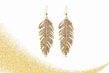Your Ideal Gift - Rose gold plated feather drop earrings made with crystals - Save 85%