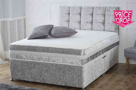 durest beds - A crushed velvet divan bed with a mattress and drawer options choose from three colours - Save 60%
