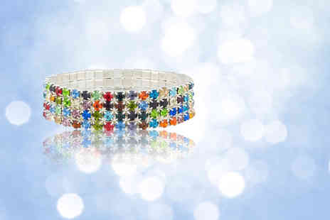 Your Ideal Gift - A four row multi coloured tennis bracelet - Save 92%